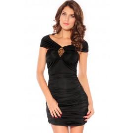 Ruched Stunner Gold Studs Mini Dress Black