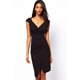 V-Neck Knee Length Ruched Wrap Midi Dress Black
