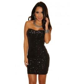 Sparkle Sequined Strapless Mini Dress Black