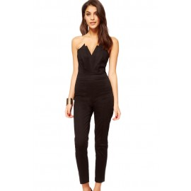 Black Sexy Strapless Jumpsuit Pleated Bust Origami Detail