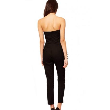 Black Strapless Jumpsuit