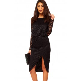 Black Sexy Lace Cowl Back and Split Night Club Midi Dress