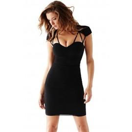 Black Sexy Strappy Cutout Slim Midi Dress