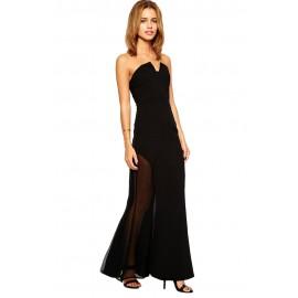 Black Sheer Strapless Maxi Dress