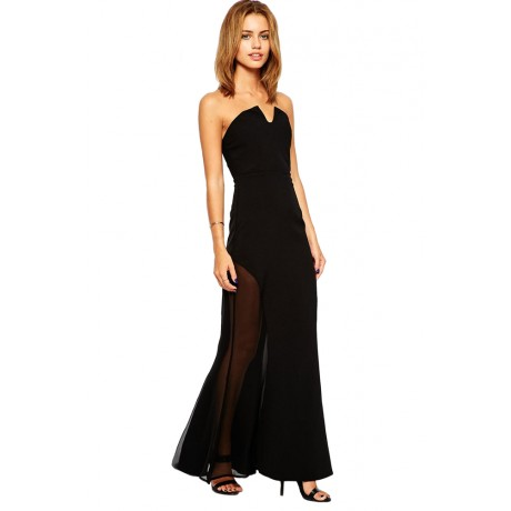 Black Sheer Strapless Maxi Dress