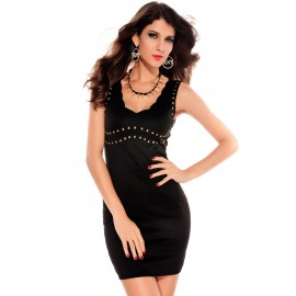 Studded Decor V-Neck Style Party Mini Dress Black