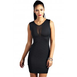 Black Textured Mesh Front Bodycon Mini Dress