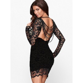 Lace Over a Black Illusion Thrilling Beaded Bodycon Dress