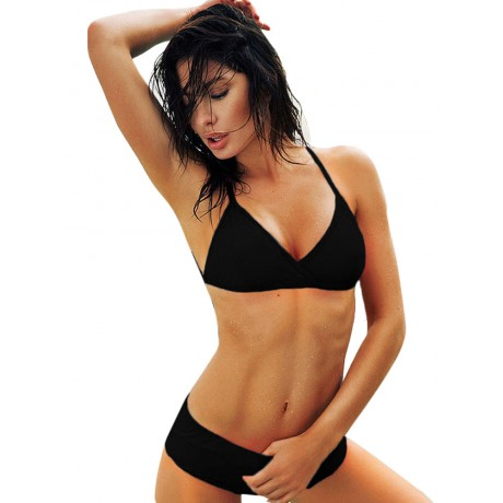 Black Hollow out Strappy Back Bikini