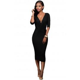 Black Two-way Bodycon Night Club Midi Dress