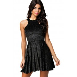 Black Velvet Sparkle Skater Mini Dress