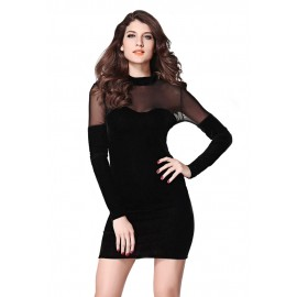 Black Velvet Sweetheart Neck Bodycon Night Club Mini Dress