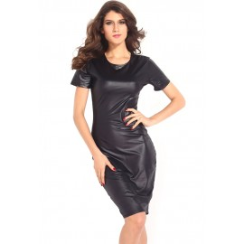 Black Vinyl Bodycon Cocktail Midi Dress