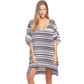 Black White Strip Kaftan Leisure Cover-up Beach Dress