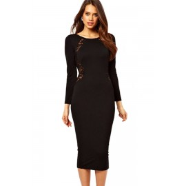 Black Long Sleeves Sexy Lace In Back O-Neck Midi Dress