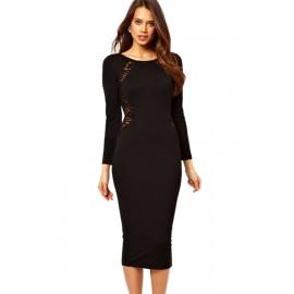 Black Lace In Back O-Neck Midi Dress