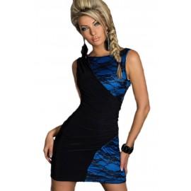 Black Blue Lace Splice Bodycon Dress