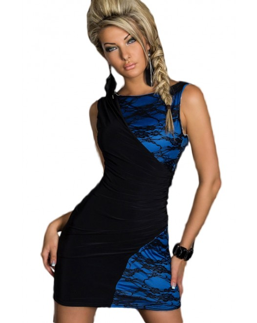 Black and Blue Lace Splice Bodycon Mini Party Dress