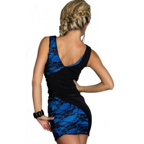 Black and Blue Lace Splice Bodycon Mini Party Dress