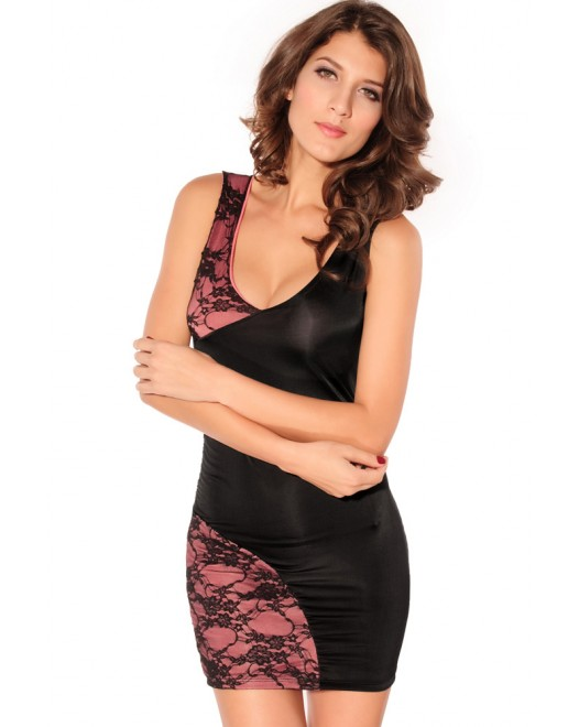 Black and Pink Lace Splice Bodycon Mini Party Dress