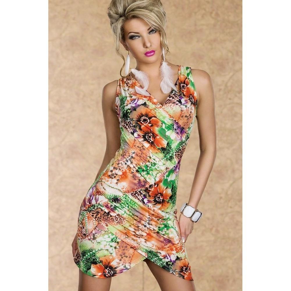 Blossomy Crisscross Seamed Mini Bodycon Dress Orange Green