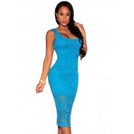 Blue Crochet Square Midi Dress