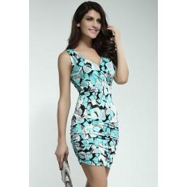 Crossover V-Neck Summer Mini Dress Blue