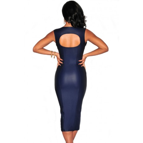 Blue Faux Leather Hole Back Midi Dress