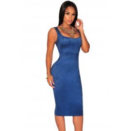 Solid Blue Faux Suede Sleeveless Backless Midi Dress