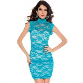 Floral Lace Overlay Mini Dress Blue