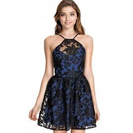 Blue Lace Organza Skater Party Mini Dress
