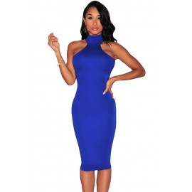 Blue Mock Neck Key-Hole Back Midi Dress