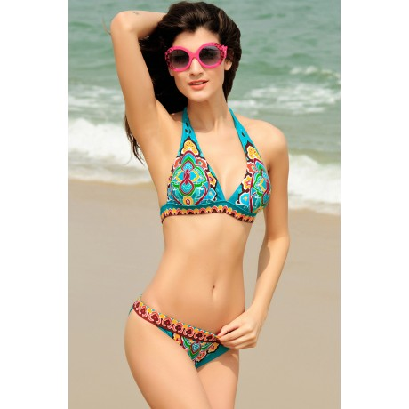 Blue Paisley Push-up Halter Swimsuit