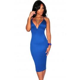 Blue Plunging V Neck Halter Lace-Up Midi Dress