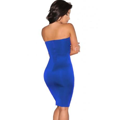 Blue Plunging V Neck Strapless Dress