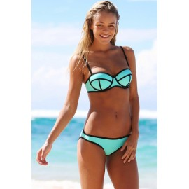 Ribbon Textured Swimwear Bikini set Blue