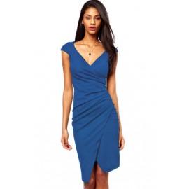 V-Neck Knee Length Ruched Wrap Midi Dress Blue
