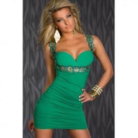 Flower Applique Stretch Dress Green