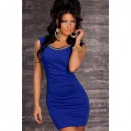 Quite Elegant Solid Bodycon Mini Dress Blue