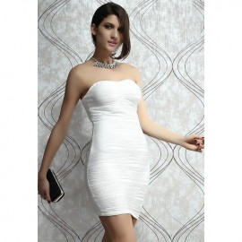 Elegant Bandeau Bodycon Dress with Wave Structure White