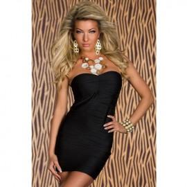 Elegant Bandeau Bodycon Dress with Wave Structure Black