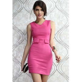 Trendy Mock Pocket Bodycon Dress Rose
