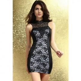 Black White Lacy Bodycon Dress