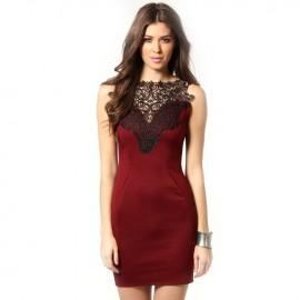 Martha Crochet Detail Evening Bodycon Dress Wine Red