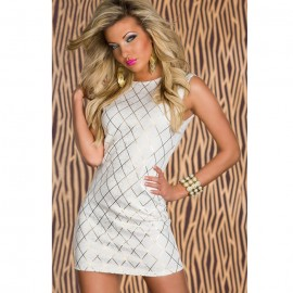 Shining Square Hot Stamping Bodycon Party Dress White