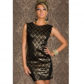 Shining Square Hot Stamping Bodycon Party Dress Black
