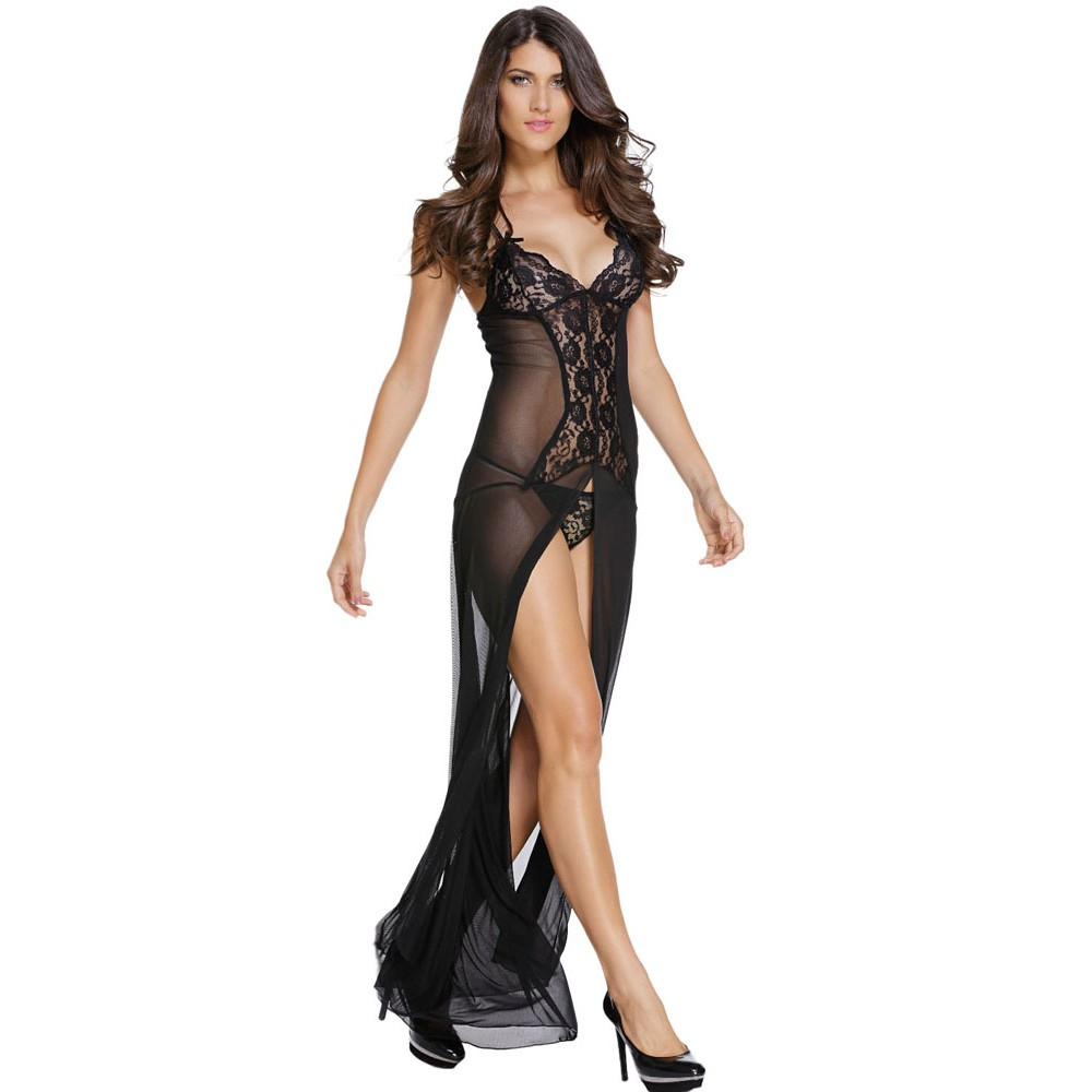 Bride to Be Black Sleepwear Gown Set