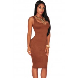 Solid Brown Faux Suede Sleeveless Backless Midi Dress
