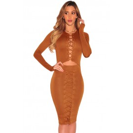 Brown Cut Out Long Sleeves Bodycon