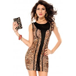 Brown Leopard Print Black Mesh Accent Luxe Mini Dress